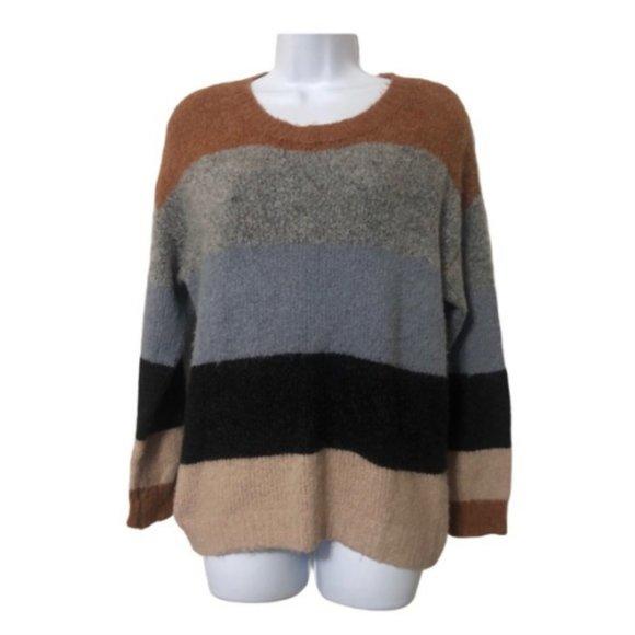Fashion Nova Striped Colorblock Sweater Size S